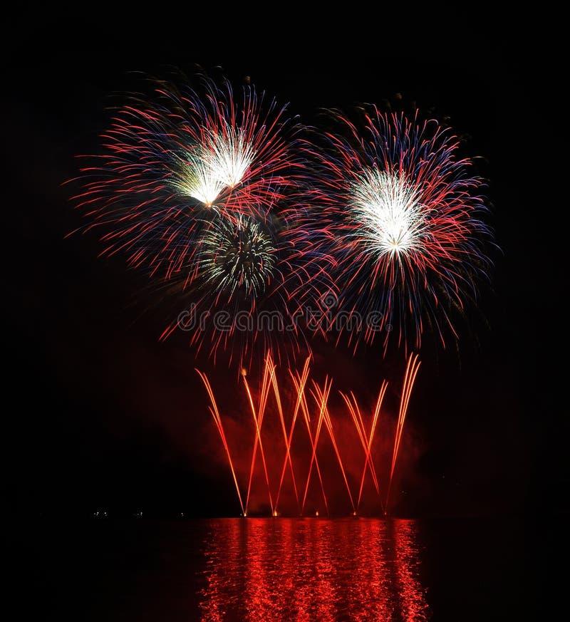 Rood vuurwerk stock afbeeldingen