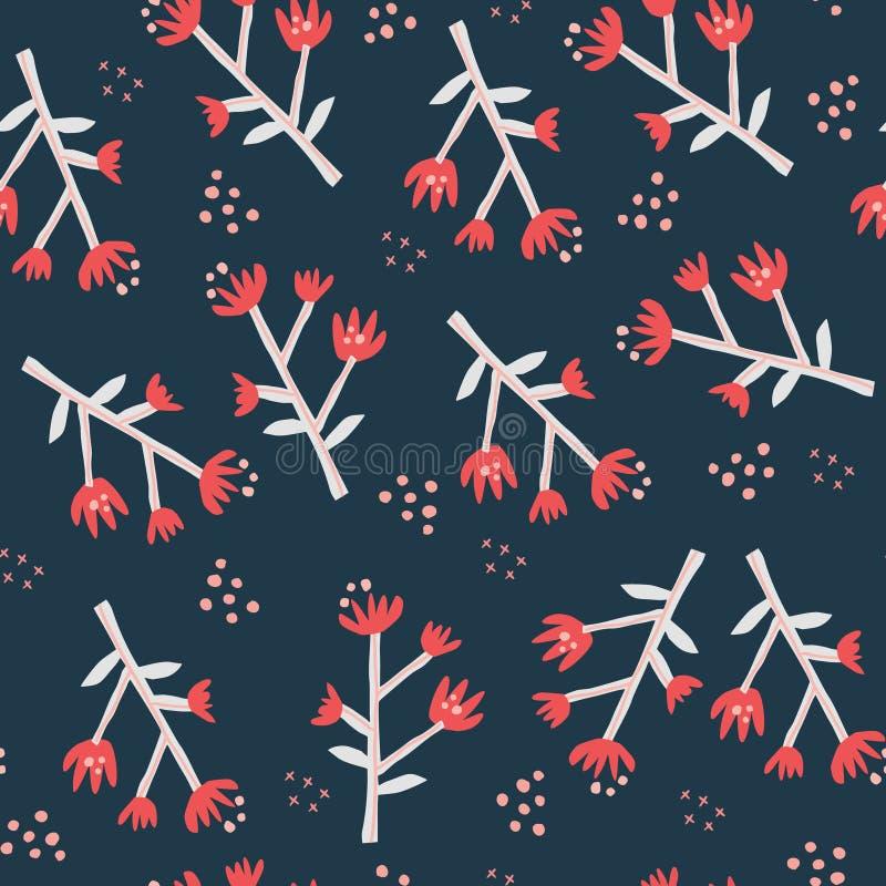 Rood wildflowers vlak naadloos patroon stock illustratie