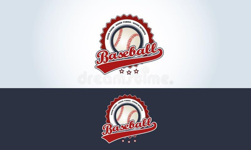 Rood, wit en blauw, de sportenbar van het honkbalembleem stock illustratie