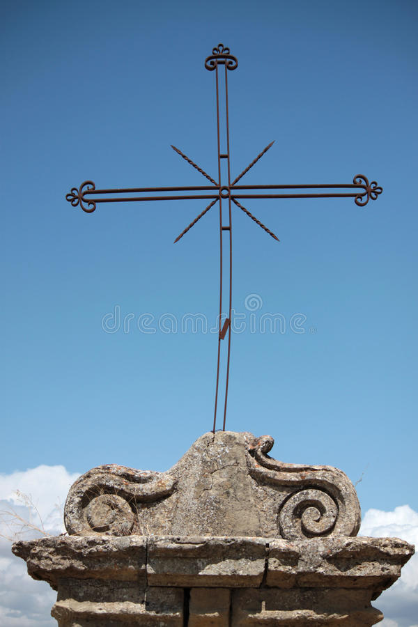 Rood. Wrought iron rood religious symbol outside church royalty free stock photography