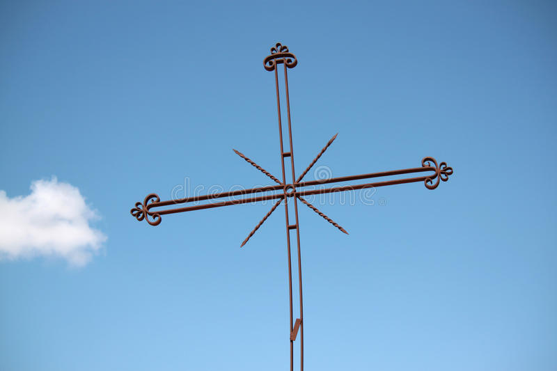 Rood. Wrought iron rood religious symbol outside church stock photography