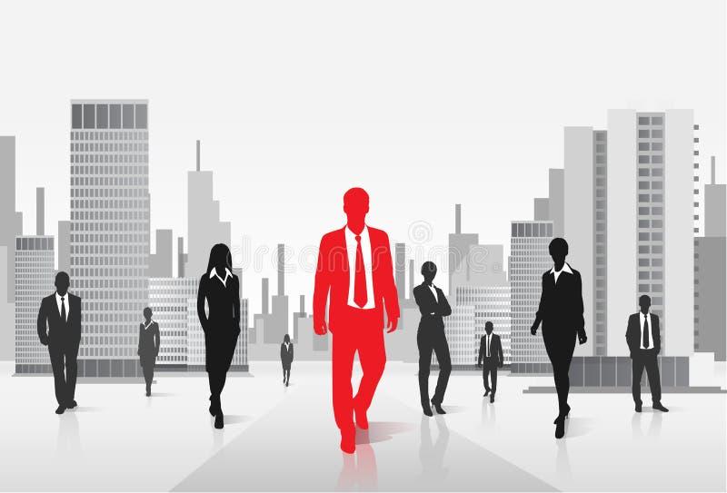 Rood zakenmansilhouet over stadsachtergrond vector illustratie