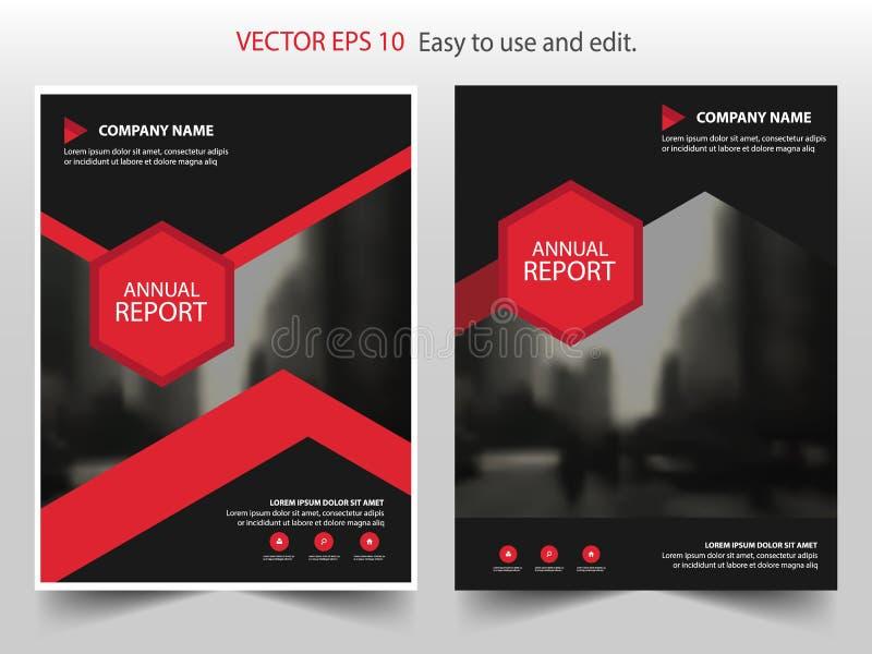 Rood zwart hexagon Vector van de de Brochurevlieger van het jaarverslagpamflet het malplaatjeontwerp, de lay-outontwerp van de bo royalty-vrije illustratie