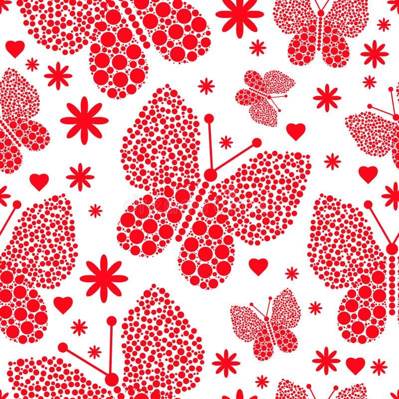 Rood zwart-wit naadloos valentijnskaartpatroon van vlinders in grote en kleine stippen F royalty-vrije illustratie