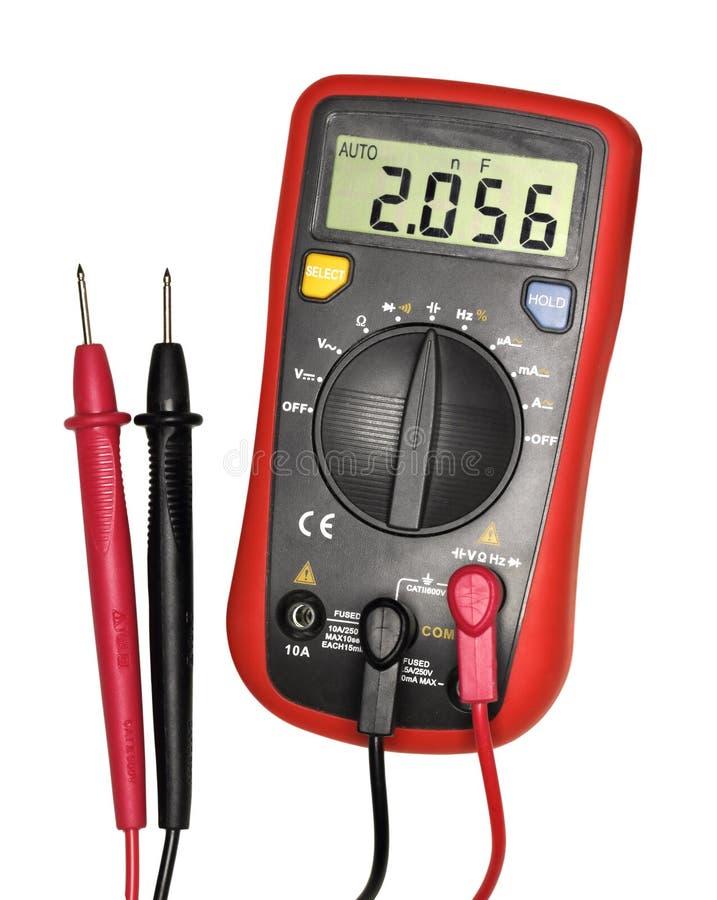 Rood-zwarte digitale multimeter stock afbeelding