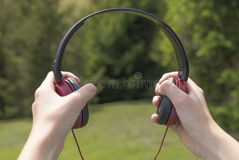 Rood-zwarte hoofdtelefoons in de handen tegen de achtergrond van naaldbomen royalty-vrije stock foto's