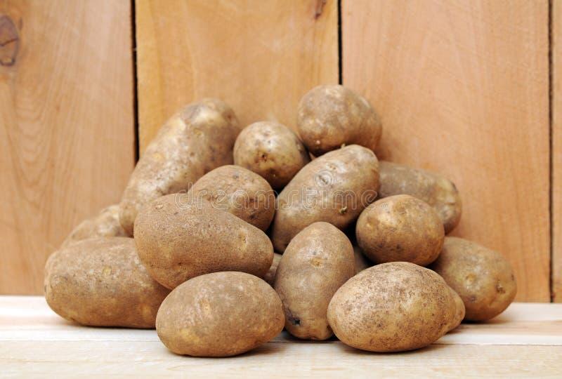 Roodbruine aardappels stock foto