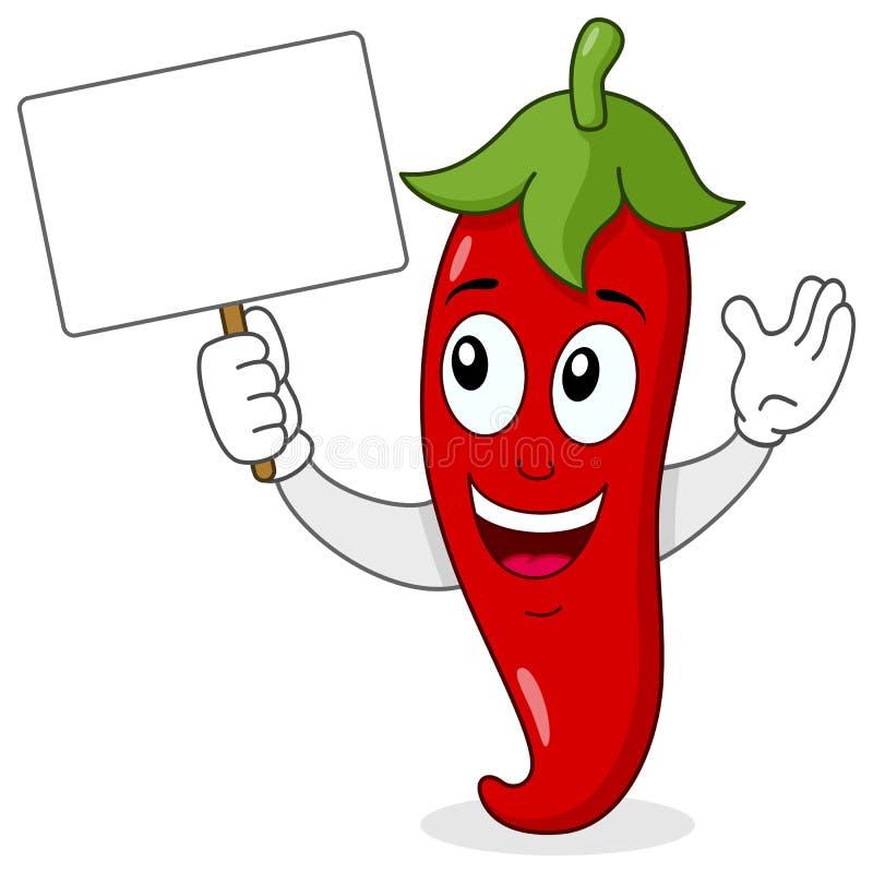 Roodgloeiend Chili Pepper met Lege Banner royalty-vrije illustratie