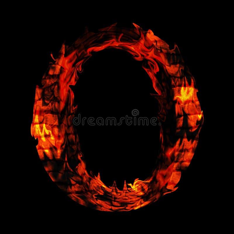 Roodgloeiende brandende branddoopvont in rode en oranje vlammen stock afbeelding