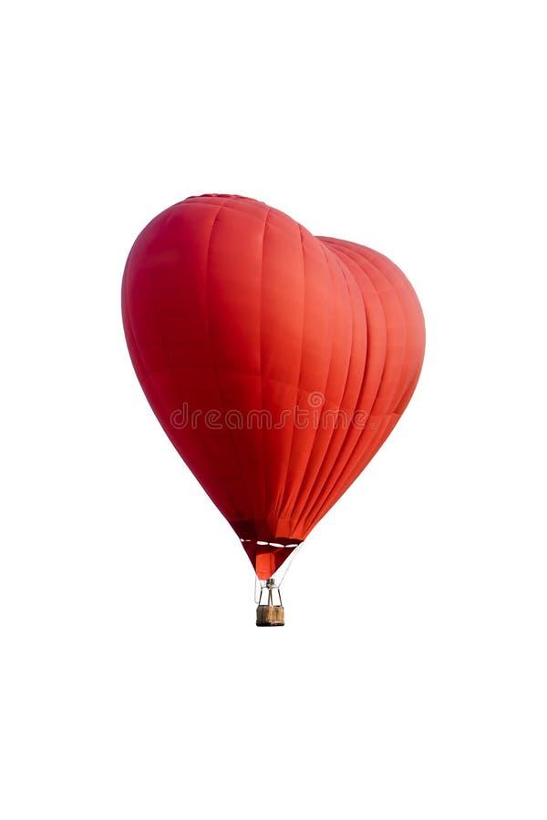 Roodgloeiende die luchtballon in de vorm van een hart op wit wordt geïsoleerd stock afbeeldingen