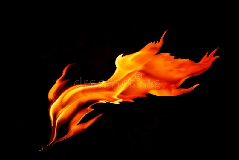 Roodgloeiende die vlam op zwarte achtergrond wordt geïsoleerd stock fotografie