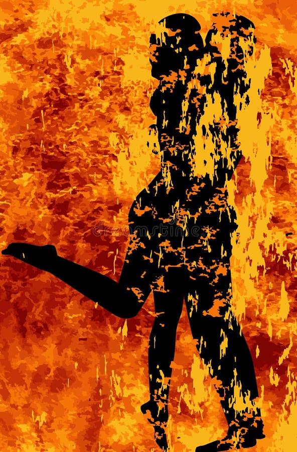 Roodgloeiende Hartstocht op Brand vector illustratie
