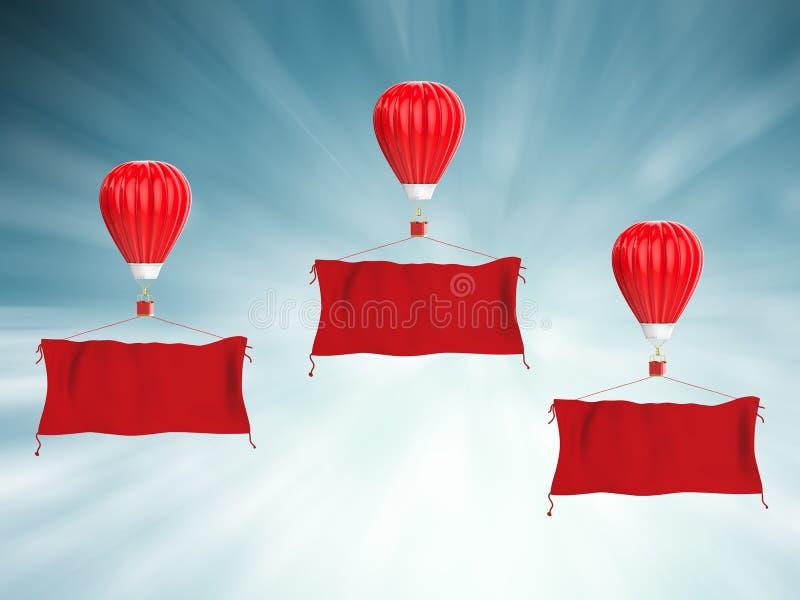 Roodgloeiende luchtballon met rode doekbanner stock illustratie