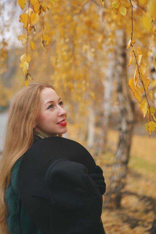 Roodharig meisje in de herfstpark royalty-vrije stock fotografie
