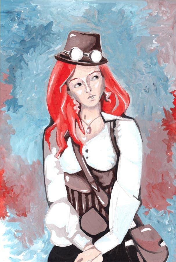 Roodharige steampunk meisje vector illustratie