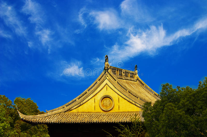 Roof of the ancient castle in asia. Ancient buddha temple in Beijing stock images