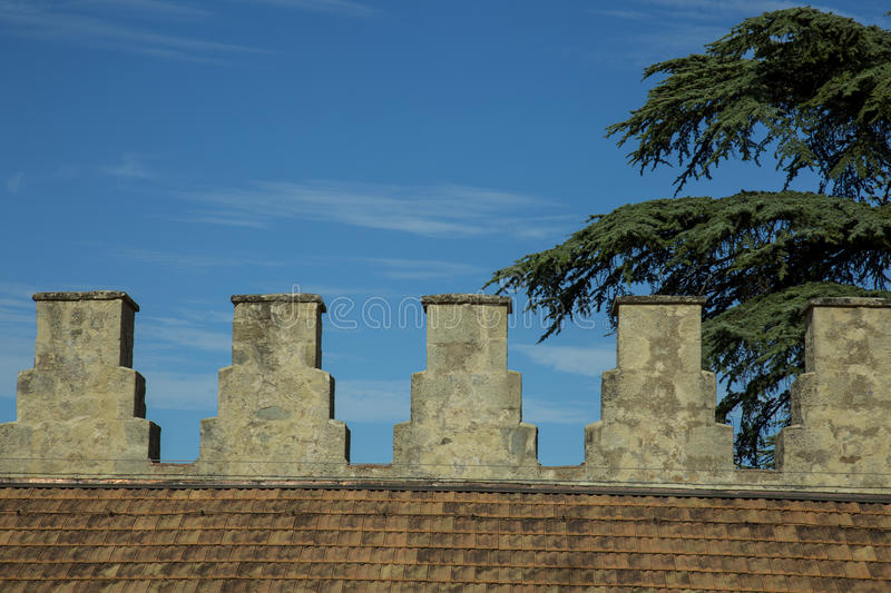 Roof with ancient fortress and merlons royalty free stock images