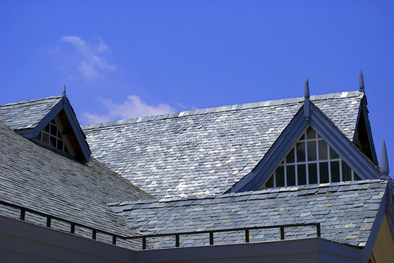Roof Architecture. Is made with rock sleets for the house of mountain region stock photography