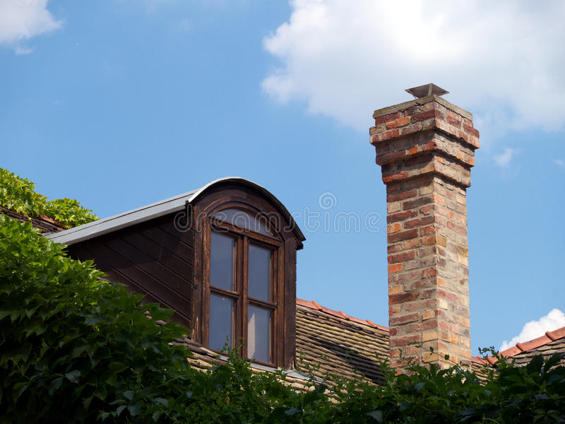 Roof with attic and chimney
