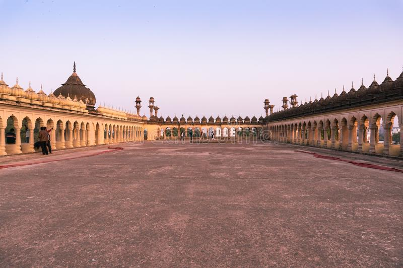 Roof of the bara imambara complex in lucknow. Lucknow, India - 3rd feb 2018: The bhool bhulaiya maze in the bara imambara leads to this roof in the bara imambara stock photo