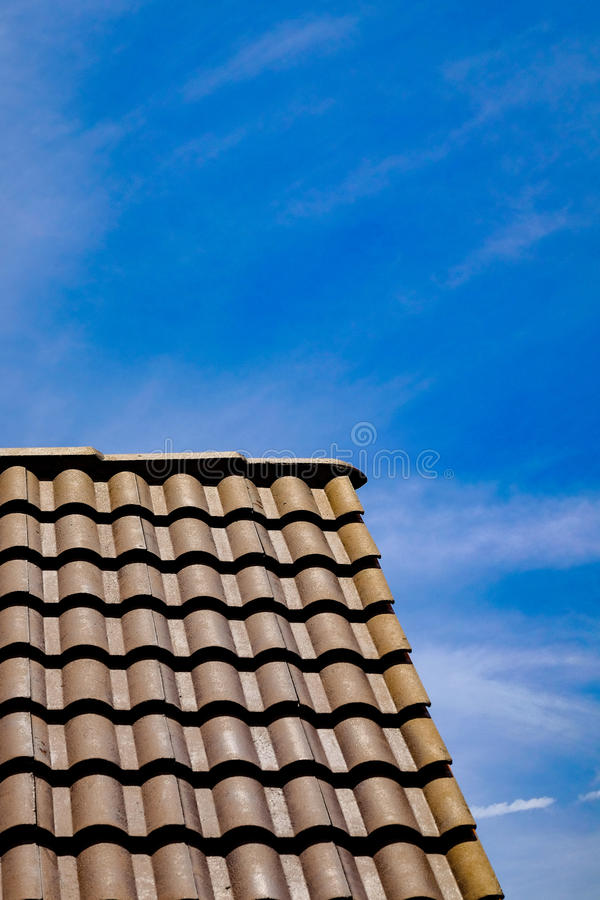 Roof with blue sky. Roof with clear blue sky stock photo