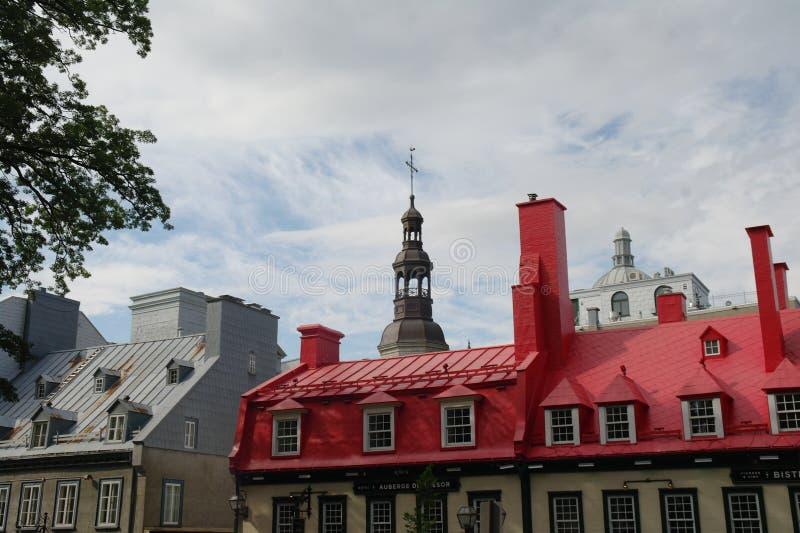 Roof buildings Quebec City street. stock photo