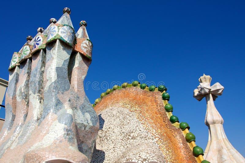 Roof of Casa Batlló. Casa Batlló is a building restored by Antoni Gaudí and Josep Maria Jujol, built in 1877, located at 43, Passeig de Gràcia, part stock photos