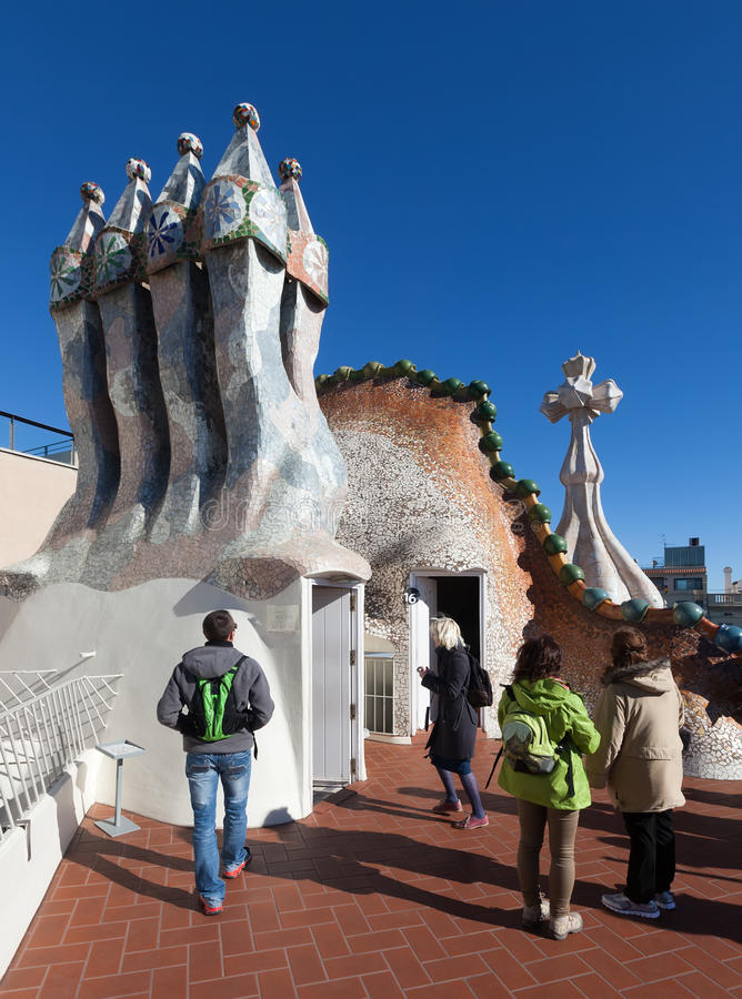 Roof of Casa Batllo in Barcelona, Spain. BARCELONA, SPAIN - MARCH 4, 2014: Roof of Casa Batllo in Barcelona, Spain. Was built in 1904 by architect Antoni Gaudi royalty free stock photos