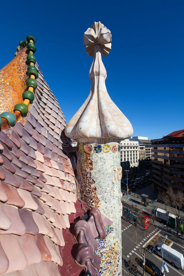 Roof of Casa Batllo over Passeig de Gracia in Barcelona. BARCELONA, SPAIN - MARCH 4, 2014: Roof of Casa Batllo over Passeig de Gracia in Barcelona, Spain stock photos