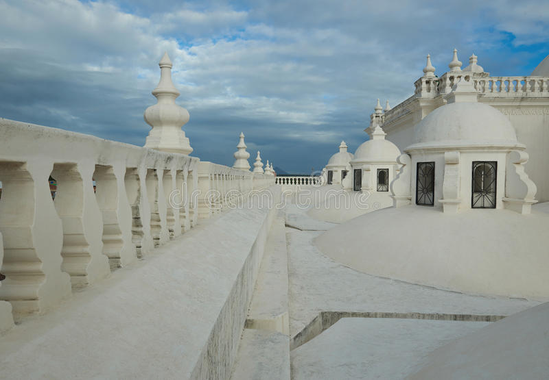 Roof of cathedral in Leon stock photo