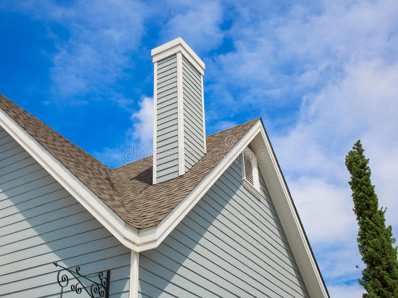 Roof with chimney royalty free stock photography