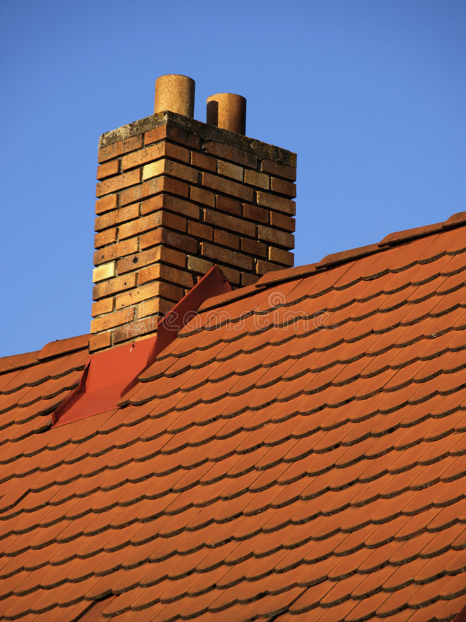 Roof With Chimney Stock Photo
