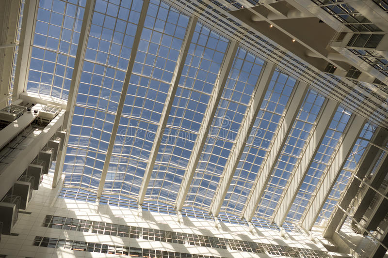 Roof of the City Hall in The Hague, designed by Richard Meier. NETHERLANDS - THE HAGUE - CIRCA MARCH 2015: Roof of the City Hall in The Hague, designed by stock image