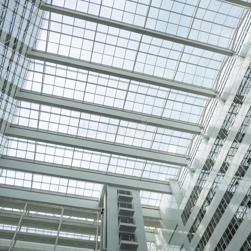 Roof of the City Hall in The Hague. NETHERLANDS - THE HAGUE - CIRCA MARCH 2016: Roof of the City Hall in The Hague, designed by Richard Meier stock photos