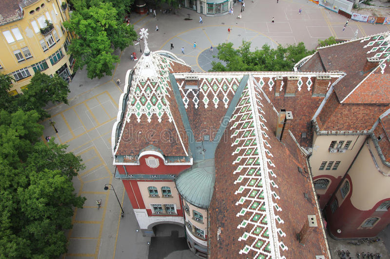 Roof of City Hall in Subotica stock photo