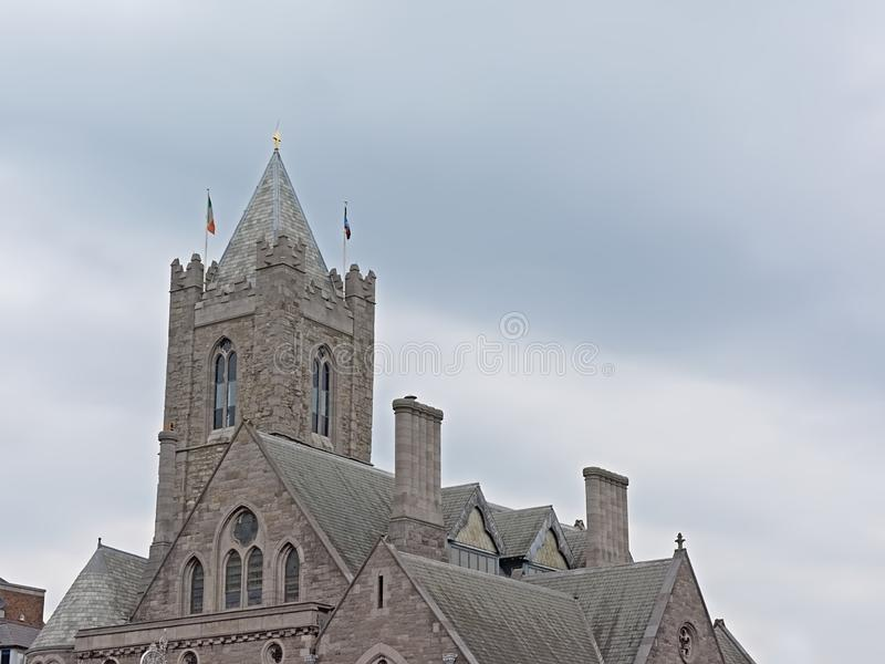 Roof and clock tower of Christ Church Cathedral, Dulblin, Ireland royalty free stock images