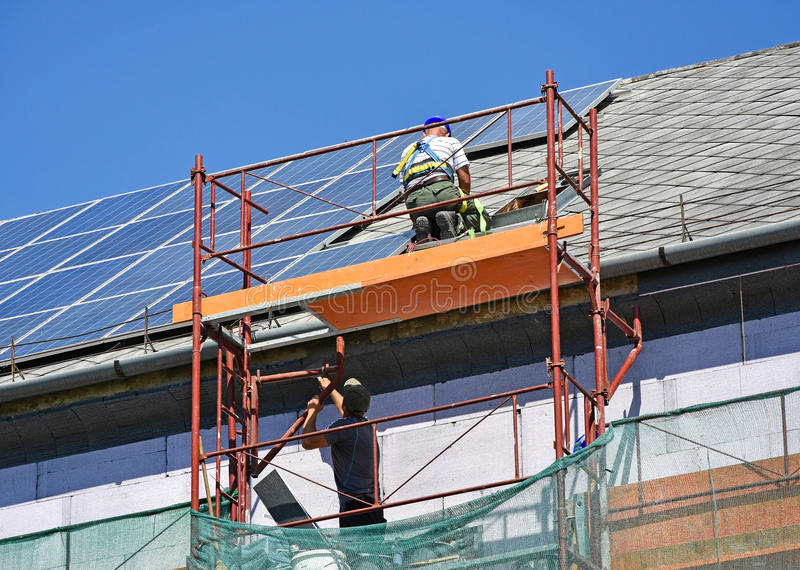 Roof construction of a high building royalty free stock images