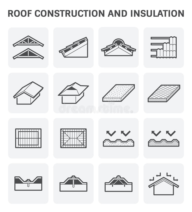 Roof construction icon. Roof construction and insulation material for building vector icon set stock illustration