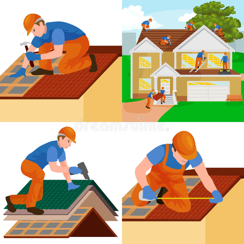Roof construction worker repair home, build structure fixing rooftop tile house with labor equipment, roofer men with royalty free illustration