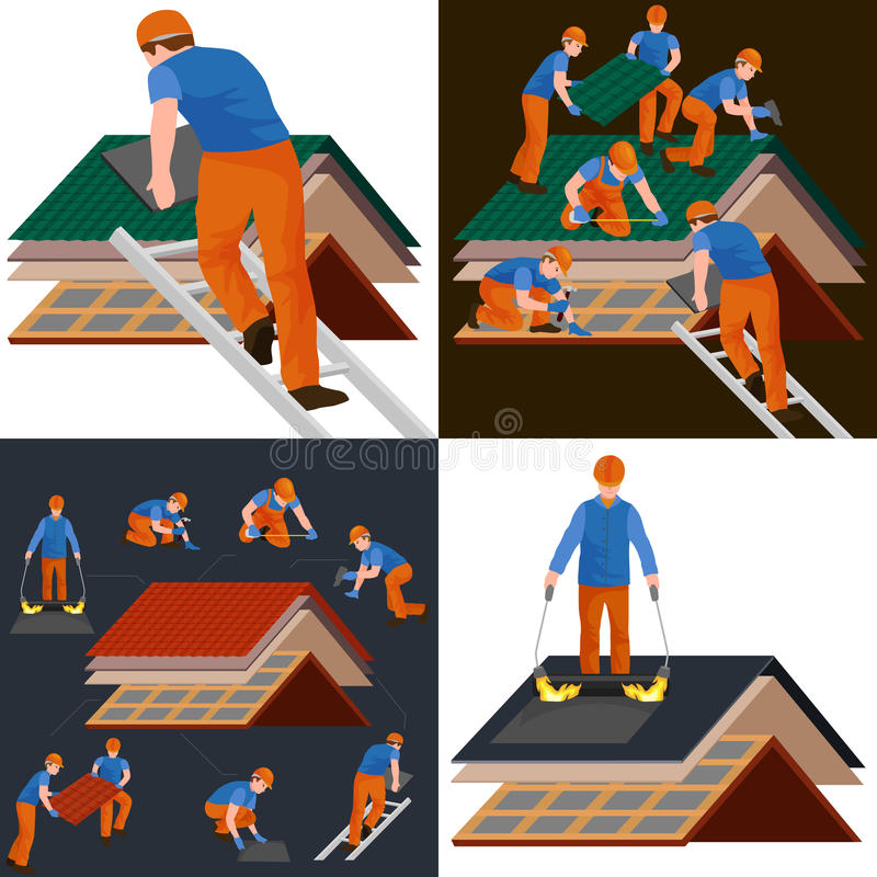 Roof construction worker repair home, build structure fixing rooftop tile house with labor equipment, roofer men with vector illustration