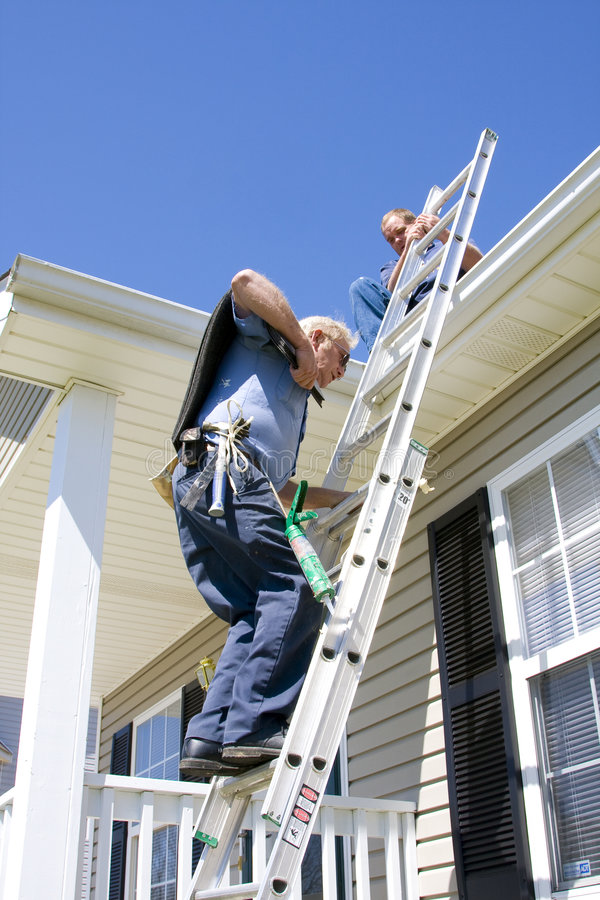 Roof contractors royalty free stock image
