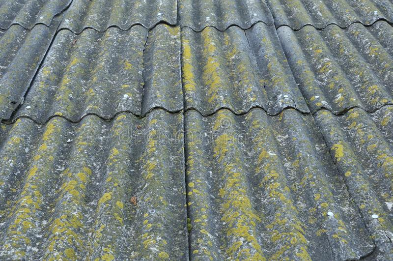 Roof of a country house, covered with gray slate, close-up. Old roof covered with slate. Green moss grows between slate waves. royalty free stock image