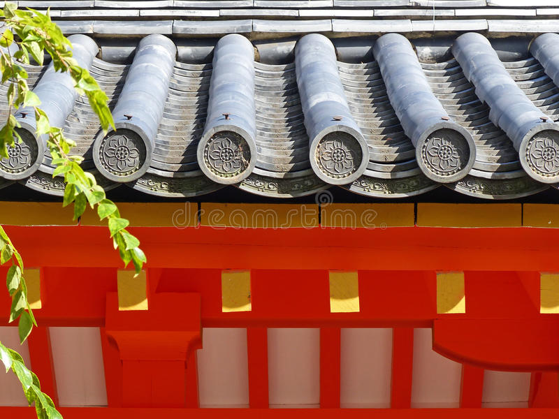 Roof detail. A traditional roof at Sanjusangendo Temple in Kyoto stock photo