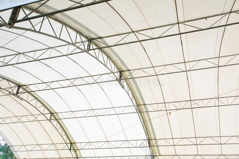 Roof Dome construction. Canvas and metal sheet for event royalty free stock photos