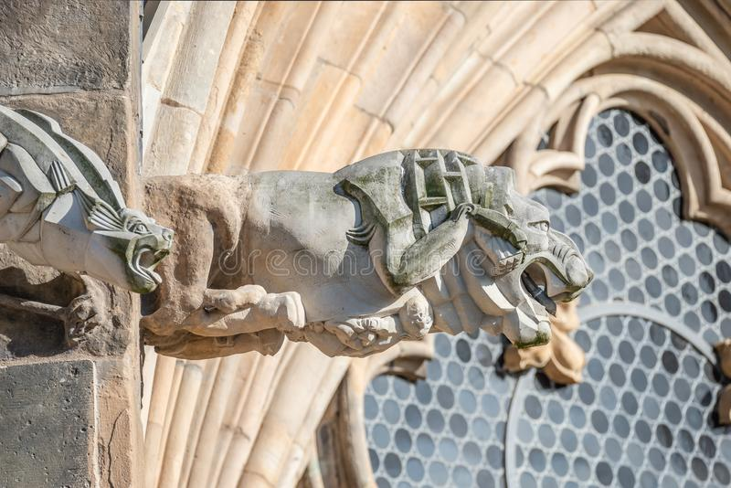 Roof figure of scary gargoyle at main facade of cathedral in Magdeburg, Germany stock image