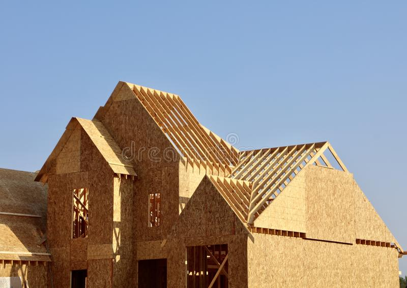 Roof Frame of a New House Detail stock image