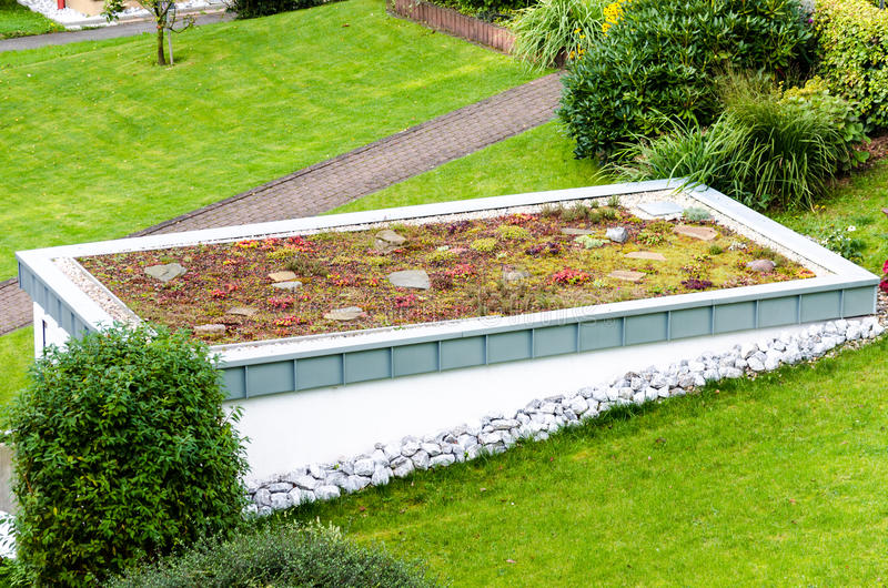 Roof garden, green roof. Of a garage stock photo