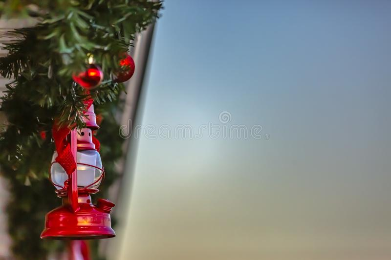 Roof garland with red balls and lamps in Utah stock photography