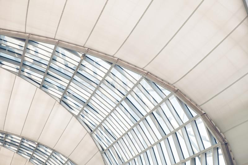 Roof glass of moden buildings, Frames of structural glazing. Abstract modern architecture, ceiling or roof. Generic office or stock images