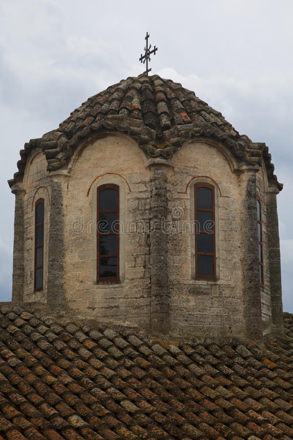 The roof of the Greek Church in the old village. Afitos royalty free stock image